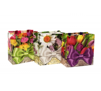Сумка для покупок 25*24*12 см, Клетка, Медвежата, Цветы